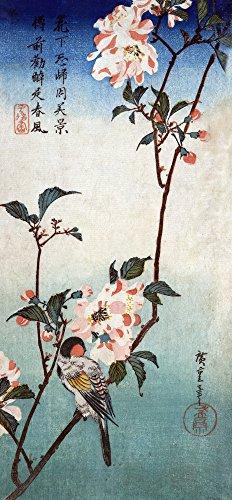 Small Bird on a Branch of Kaidozakura Japanese Wood-Cut
