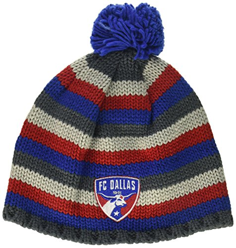 adidas MLS Fc Dallas Men's Textured Beanie with Pom, One Size, Royal/Red/Grey