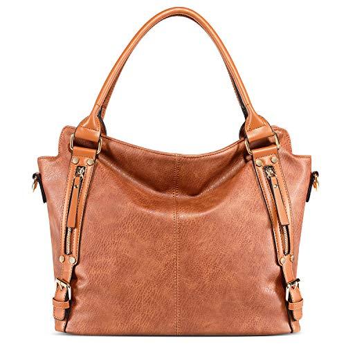 Big Capacity Hobo Bags Women Handbags PU Leather Large Tote Bags Fashion Shoulder Purse Brown