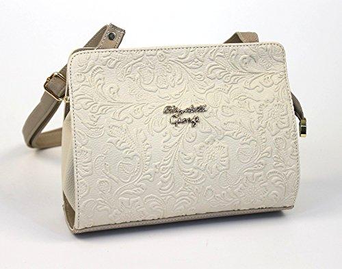Elizabeth George 709 - Cartera de mano con asa para mujer blanco Weiß - Beige Creme und Beige