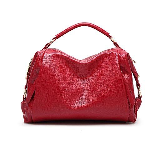 Mujeres Moda Pu Cuero Bolso De La Señora Bolsa De Hombro Satchel Bolsas Multicolor Red