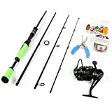 ICEWEI 4Piece Spinning Rod and Reel Combos FULL KIT Carbon Fiber Big Fish Travel Fishing Poles Rod Blanks Set with Casting Fishing Line Lures Hooks Fishing Pliers and Fishing Bag Carrier Accessories