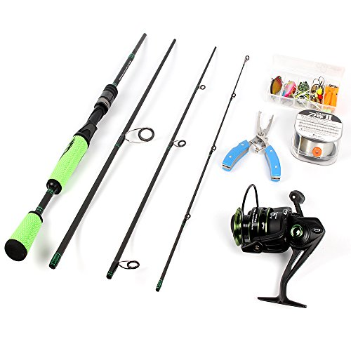 ICEWEI 4Piece Spinning Rod and Reel Combos FULL KIT Carbon Fiber Big Fish Travel Fishing Poles Rod Blanks Set with Casting Fishing Line Lures Hooks Fishing Pliers and Fishing Bag Carrier Accessories For Sale