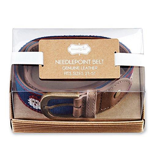 Blue Needlepoint (Mud Pie Boy Christmas Needlepoint Belt 2T-5T (Santa))