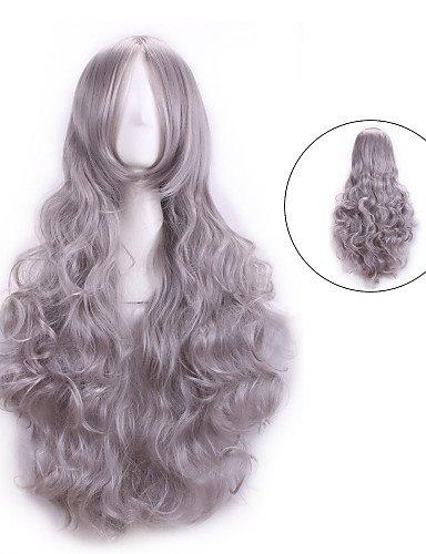 ahom peluca Noble 80 cm Harajuku Cosplay pelucas Anime mujer largo completa rizado resistente al calor
