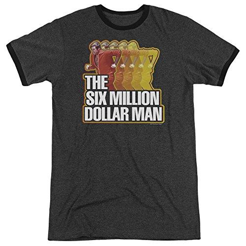 - Six Million Dollar Man Run Fast Mens Adult Heather Ringer Shirt Charcoal Xl