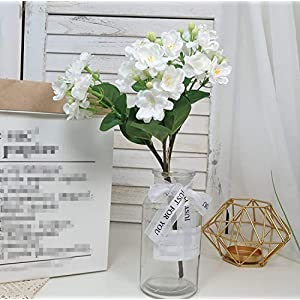Skyseen 1 Pack Silk Jasmine Artificial Gardenia Flower Wedding Decorative for Home Decoration
