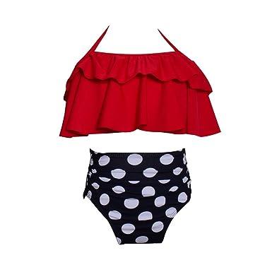 04fb2f83cec64 Girls Swimsuit Falbala High Waisted Bikini Set Halter Neck Swimwear Dots  Printing Bathing Suits A1 104cm