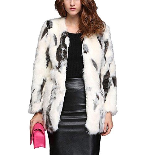 eshion Womens Warm Winter Jacket 3/4 Sleeves Clothing Faux Fox Fur Coat - Fox 3/4 Fur Jacket