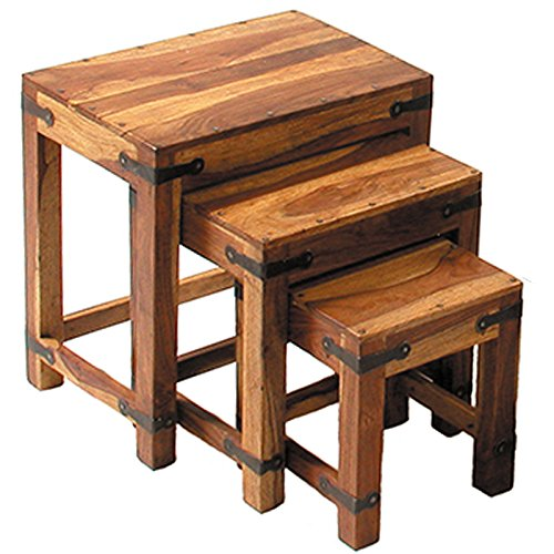Jali Nest of 3 Tables - Coffee Tables - Side Tables - Constructed from 100% Real Sheesham Wood - Indian Rosewood Furniture Supplies UK