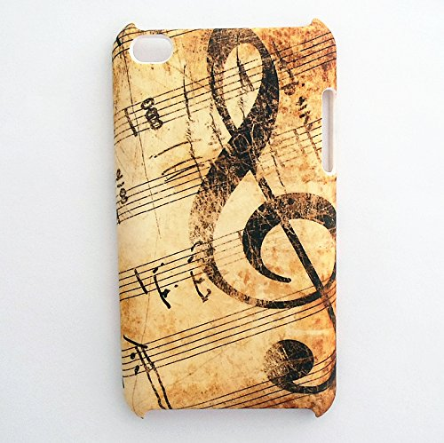 Treble Clef Music Musical Sheet Notes Vintage Pattern Snap on Case Back Cover Faceplate for iPod Touch 4th Generation + Screen Protector - Personalized Cool Back Protective Case Shell-Perfect as gift from SunshineCase