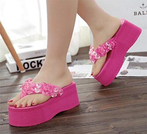 Womens Rhinestone Platform High Heel Sandals Wedges Thong Slippers Peachpuff P8vJiXo