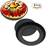 TedGem 2 Pack 8.8 Inches Non-Stick Removable Loose Bottom Quiche Tart Pan, Tart Pie Pan, Round Tart Quiche Pan with Removable Base