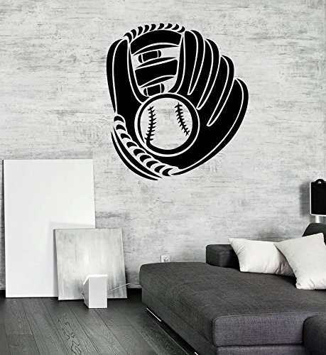 Baseball Glove Wall Art - Baseball Glove And Ball Vinyl Decal Sport Posters Boy's Room Wall Art Decor (9bbl) / Shipping from USA by Kellysdesigns /