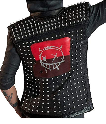 Men's Studded Silver Rivets Black Leather Biker Vest with Removable Hoodie XXS to 3XL