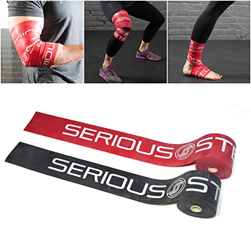 Serious Steel Mobility & Recovery (Floss) Bands |Compression Band | Tack & Flossing Band (7 feet L x 2 inch W) - Black & Red (Best Fitness Band On The Market)