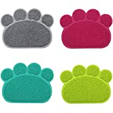 ZZmeet Paw Print Dog Cat Litter Mat Puppy Kitty Dish Feeding Bowl Placemat Tray Easy Cleaning Sleeping Pad Pet Cat Dog Accessories,Dark Blue,30x40cm