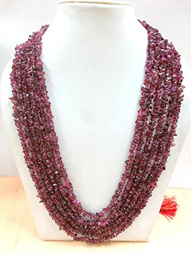 (6 Strand Wine-Colored Rhodolite Garnet Necklace, January Birthstone, Semi-Precious Stones, Minimalist Style,Rhodolite Garnet)