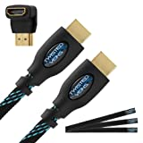 Twisted Veins (6 ft) High Speed HDMI Cable + Right Angle Adapter and Velcro Cable Ties (Latest Version Supports Ethernet, 3D, and Audio Return), Best Gadgets