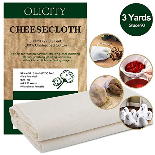 Olicity Cheesecloth, Grade 90, 27 Sq Feet, 100%