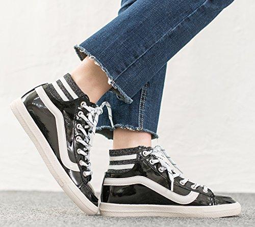 Annakastle Dames Vegan Lakleder Mid Top Sneaker Fashion Trainer Zwart
