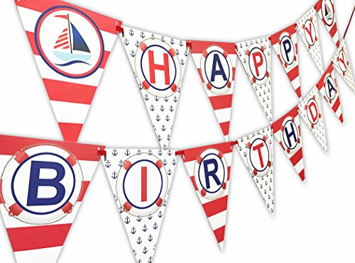 POP parties Nautical RED Happy Birthday Banner Pennant - Sailboat Party Banner - Made in the (Panel Pennants)