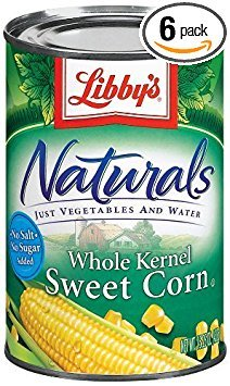 Libby's Naturals Whole Kernel Sweet Corn 15oz Cans (Pack of 6)