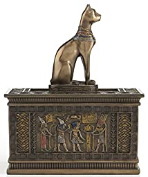 Sale - Bronze Egyptian Bastet Jewelry Trinket Box