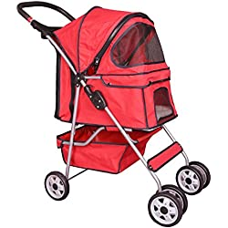 4 Wheels red pet stroller cat dog cage stroller travel folding carrier