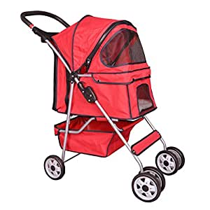 Carriage Pet Stroller 4 Wheel Easy Folding Red Deluxe Fold Travel Dog Cat