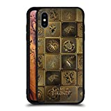 Official HBO Game of Thrones All Houses Golden Sigils Black Hybrid Glass Back Case Compatible for iPhone Xs Max