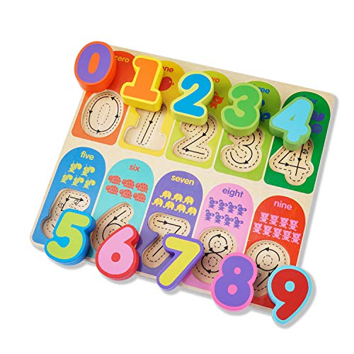 (Jamohom Kid Wooden Numbers Puzzle Board Preschool Intelligence Early Educational Math Toys for Toddlers 10 Pieces)