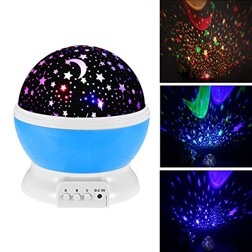 (Baby Night Light Moon Star Projector 360 Degree Rotation,Romantic Starry Night Light Lamp Projection for Women Children Kids Bedroom Decor (Blue))