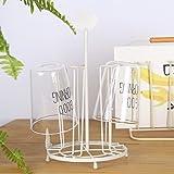 TY&WJ Mug holder rack Metal Rust Coffee Glass Drying rack stand [household] Kitchen [restaurant] Senior Multifunction Mug holders-White