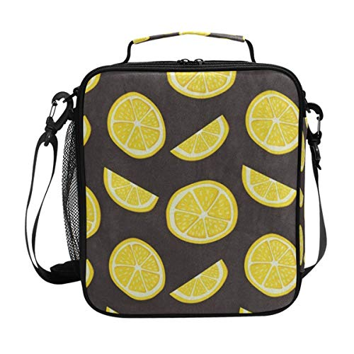 HU MOVR Fresh Lemon Fruit Lunch Bag Womens Insulated Lunch Tote Containers Zipper Square Lunch Box for Kids Men