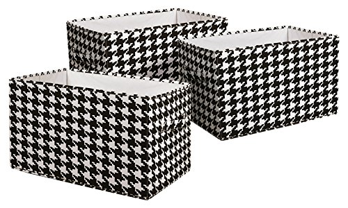 Lush Decor Houndstooth Fabric Covered 3 Piece Collapsible Storage Box Set, 14