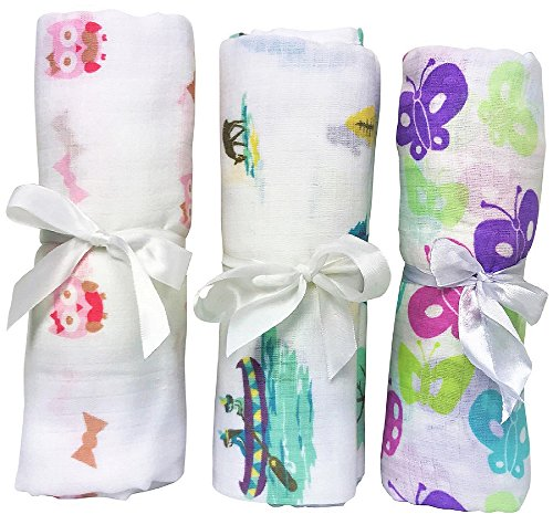 Soft Baby Swaddle To Calm Cranky Newborn & Put In Deep Sleep. 3 Pack Large Muslin Cotton Swaddling Blankets For Receiving & Nursing. Cute Pink For Girls.