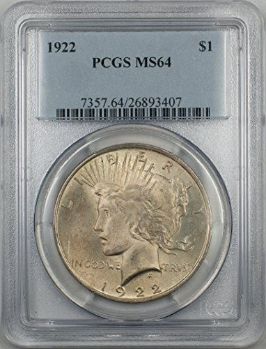 1922 Peace Silver Dollar Coin $1 PCGS MS-64 Light Toning (2I)