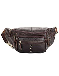 OpetHome Multiple Pockets Genuine Leather Fanny Pack Waist Bags, Large Men Women Hip Pack Daypack for Hiking Travel
