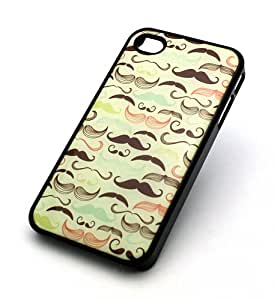 BLACK Snap On Case IPHONE 4 4S Plastic Cover - MUSTACHE OVERLOAD moustache awesome movemeber mania hipster love