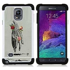 """Samsung Galaxy Note 4 IV / SM-N910 - 3 en 1 impreso colorido de Altas Prestaciones PC Funda chaqueta Negro cubierta gel silicona suave (Anatomy Drawing Lápiz Roses"""")"""