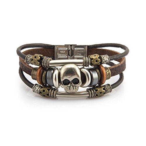 - Fashion Plaza Vintage Skull Design Triple Strands Leather Bracelet L192