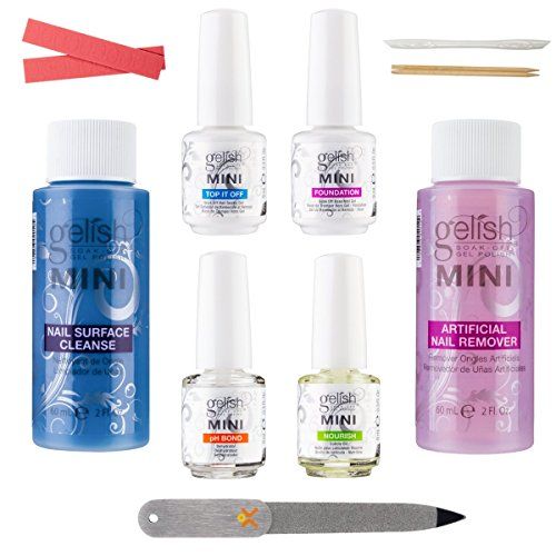 Gelish Mini Basix Kit Gel Manicure Basic Essentials Bundle w HumanFriendly Travel Nail File