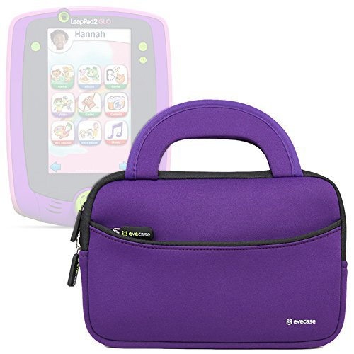 Evecase LeapFrog LeapPad Glo / LeapPad 3 Kids Learning Tablet Ultra Portable Travel Carrying Neoprene Sleeve Case Bag with Handle & Accessory Pocket - Purple (Leappad 3)