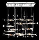 DMMSS Glass Chandelier European American Flying Fish Chandelier Led Hotel Restaurant Lobby Works Creative Individual Fish Fish-Shaped Lamps , 2