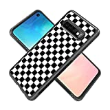 Cell Phone Case Fits for Samsung Galaxy S10 (6.1in) Grid Lattice Plaid Quadrille Tartan Design Check Pattern Damier House Checkerboard Chessboard Checker Flag