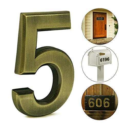 (iMustech Mailbox Numbers, 2 pcs Solid Self-stick Number 5 for Mailbox, Door, Apartment, Hotel, 2-3/4 Inch, 3D Metal Brass)