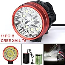 Super bright LED Bicycle Light,Richasy Bike Headlight 11000LM 11 x Cree XM-L T6 LED Bicycle Headlamp Light Set Heavy Rain Waterproof Lamp With 3 Light Mode 8 x 18650 Battery for Cycling (Red)