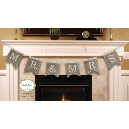 "Cypress Home Mr. and Mrs. Burlap Wedding Bunting Banner - Engagement Party or Wedding Reception Decoration - 67""L x 0.5""W x 8.25""H ()"