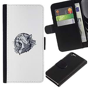 LECELL--Cuero de la tarjeta la carpeta del tirón Smartphone Slots Protección Holder For Apple Iphone 6 -- Lynx Cat Panther Crest --